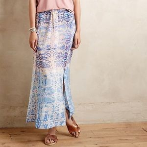 Anthropologie Maeve Waimea Maxi Silk Printed Skirt